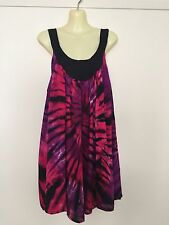 PLUS SIZE 24 Mini Dress, Beach Dress, Tunic Top Tie Dyed Pink, Purple