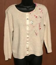 Awesome Free People Embellished Cardigan Wool Angora Sweater Sz L ~*~ MUST SEE