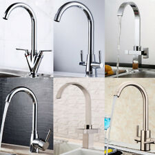 Modern Kitchen Spring Sink Tap Single or Twin Lever Swivel Spout Basin Mixer Tap