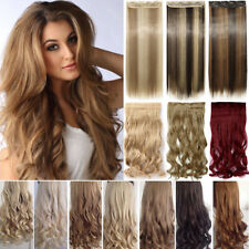 Real as remy human hair Long Clip in Hair Extensions Full Head Wavy Straight l56