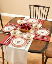 12 PC Americana Country Star Melamine Dinnerware Dishwasher Safe Dining Indoors