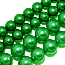 GLASS PEARLS JEWELRY BEADS GREEN COLOR 4MM 6MM FAUX PEARL BEAD STRAND GP45