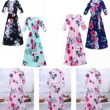 Kids Girl Long Sleeve Floral Printed Dress Infant Outfit Holiday Party Dresses