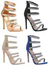 Womens Diamante Stiletto High Heel Shoes Ladies Strappy Zip Up Sandal Party Sexy