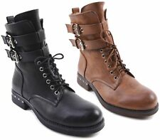 WOMENS MILITARY WORKER STUDS TWIN BUCKLE LACE UP BIKER ZIP LADIES ANKLE BOOTS