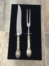 Vintage Webster Sterling Silver Repousse Knife & Fork Serving Carving Set