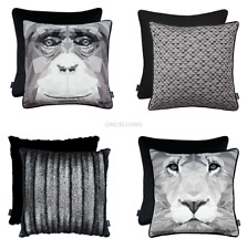 Rocco Luxury Quality Velvet Metallic Abstract Grey Scatter Filled Cushion Covers