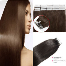 Remy Tape In Hair Extension Pure Color Straight European Skin Weft Human Hair AU