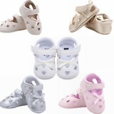 Newborn Infant Baby Girls PU Leather Heart-shaped Bowknot Soft Sole Crib Shoes