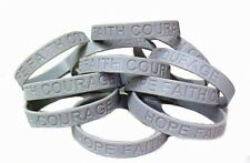 Gray Awareness Bracelets Lot of 50 Silicone Wristbands Cancer Cause Silver New