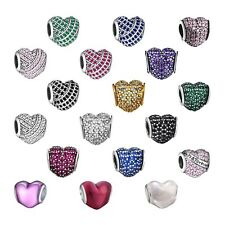 925 Zirconia Heart Silver Charms Bead Pendants Fit Sterling Bracelets Necklace