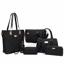 Women Fashion Diamond Lattice Handbag Set 6pcs Patchwork Composite Vintage Shoul