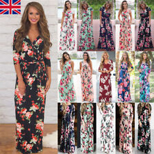 UK Womens Long Maxi Dresses Floral Print Short Sleeve Evening Party Boho Dress