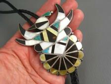 Old Pawn Zuni Sterling Turquoise Shell Hopi Bird Bolo Necklace Lee Edaakie