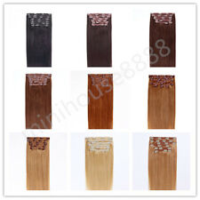 """Full Head 22"""" Indian Remy Human Hair Clip In Extensions 8pcs & 140g, 15 colors"""