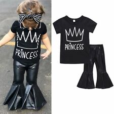 2PSS Toddler Baby Girls Outfits T-shirt Tops+PU Flared Pants Kid Clothes Set