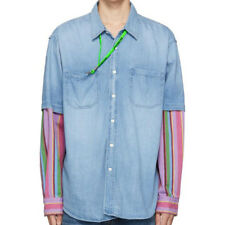 Balenciaga Denim Striped Double Sleeve Shirt Blue Size XS S M L Mens Apparel New