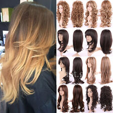 Elegant Synthetic Hair Full Wig Long Curly Wave Layered Heat Resistant Blonde
