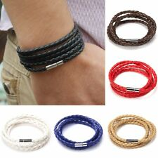 Fashion Black Leather Interlaced Cuff Bangle Wristband Bracelet Bangle Women Men