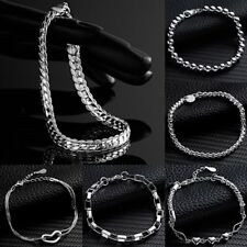 Fashion Silver Plated Bracelet Chain Wristband Charm Bangle Men Women Jewelry
