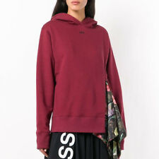 Off-White Floral Print Detail Hoodie Bordeaux White Size S M Virgil Abloh Women