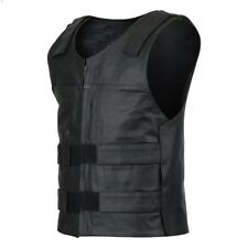 Men Bullet Proof style Leather Motorcycle Vest for bikers Club Tactical Vest 111