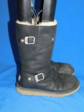 UGG Size 5 1969 Kensington Black Leather Boots Shearling Lined Zip Buckle Eu 35