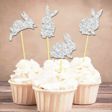 Party Favors Birthday Cupcake Toppers Cake Decor Glitter Rabbit Picks Card