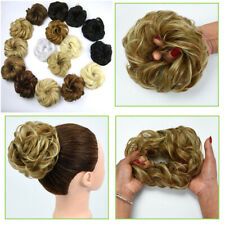 As Human Natural Real Curly Messy Bun Hair Piece Scrunchie Hair Extensions USA