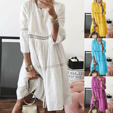 Women Boho Solid Crew Neck Dresses Hollow Out Splice 3/4 Sleeve Mid-Long Dress C
