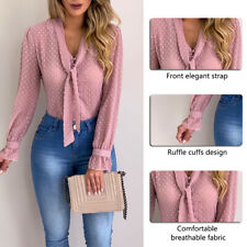 Women Bow Tie Neck Chiffon Long Sleeve Blouse Tops Casual Office Work Shirts 28