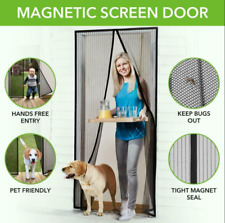 Magnetic Screen Door with Heavy Duty Mesh Curtain and Full Frame Hook & Loop**