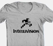 Intellivision T-shirt running man logo vintage style distressed heather grey tee