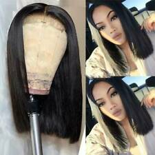 100% Hand Tied Short Bob Lace Front Wigs Malaysian Hair Remy Quality Black Women