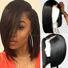 Bob Lace Front Wigs Real Indian Vrigin Human Hair Wig Short Straight Black Women