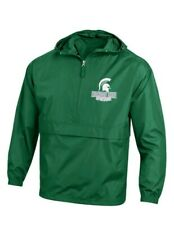 NCAA Champion Mens Michigan State Spartans 1/4 Zip Packable Jacket Size XL XXL