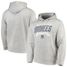 New York Yankees Stitches Poly Pullover Hoodie - Heathered Gray