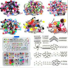 105PCS Wholesale Bulk lot Body Piercing Eyebrow Jewelry Belly Tongue Bar Ring HS