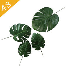 48PCS Simulation Hawaiian Artificial Tropical Palm Leaves Faux Monstera Leaves