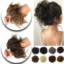 Lady Messy Rose Bun Curly Scrunchie Hair Extensions Updo As Human Hairpiece