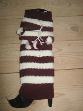 Burgundy & White Striped Knit Long LEG WARMERS winter leggings w/ pompoms