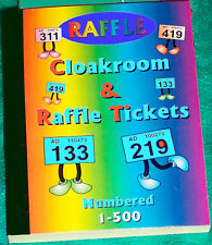 raffle tickets book 500 choose your colour + duplicates uniquely numbered stubs