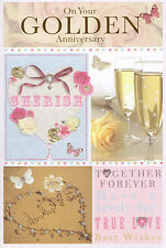 golden wedding anniversary card 50th cute / traditional