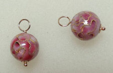 10m Rose Cloisonne INTERCHANGEABLE Earring Charms YG SS