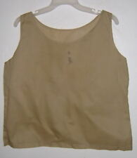 NEW Embroidered Cotton TANK TOP semi sheer BEIGE S,M, L OR