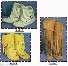 Native American Zuni Indian Moccasin Sewing Pattern - 3 Styles & Heights