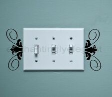 Light Switch Scroll Vinyl Decal Stickers Wall Art Living Dining Bed Room Decor