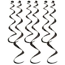 Mylar Twirly Whirlies Party Decor Black, Silver OR Gold