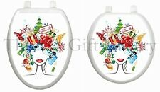 Christmas Lady Toilet Tattoo Decor Decal Cover Holiday Chic Cold Seat TT-X612