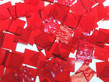 CHERRY RED ROUGH ROLLED handcut stained glass mosaic tiles #334